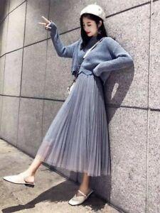 Women high waist ruffle mesh TUTU maxi SKIRT sheer net tulle pleated long dress