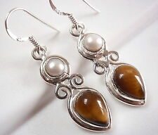 Tiger Eye and Pearl Earrings Dangle Drop 925 Sterling Silver Teardrop Round New