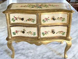 Florentine Italian Gold Gilt Wood Jewelry Chest Dresser
