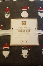 COOL SANTA New Pottery Barn Teen Organic FLANNEL Queen SHEETS Christmas 4 pc