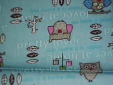 Pretty Lover~~Owls on Blue ~18 X 21~~2 Pieces  1/2 Yd  Total     Z2