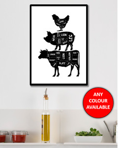 Animal Meat Kitchen Wall Art Print Poster Home Decor Chicken Beef Cow Pig