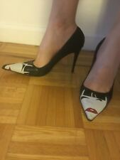 MARIO BOLOGNIA BLACK SATIN POINTY HIGH HEEL SHOES PUMPS SIZE 39.5
