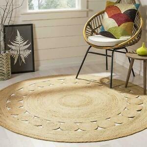 Jute Round Rug Braided Style 100% Natural Jute Area Rug Home Decor Modern Carpet