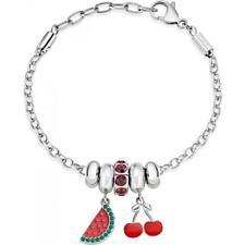 Bracciale Donna MORELLATO DROPS SCZ898 Acciaio Charms Ciliegia Anguria Rosso NEW