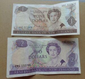 New Zealand banknotes $1 and $2 dollars ND(1985-1989)
