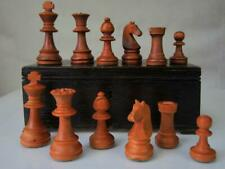 VINTAGE CHESS SET WEIGHTED CHAVET  STAUNTON PATTERN K 82mm  PLUS OLD BOX