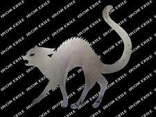 HALLOWEEN CAT -- Scary Yard Garden Decor Metal Sign Plasma Silhouette Cutout