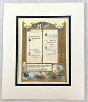 1937 Antico Stampa Medievale Illuminato Manuscript Calligrafia Art Mezzo Età