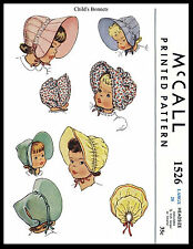 """BABY BONNET Sewing Pattern McCall #1526 GIRL KIDS Toddler Child Hat Colonial 20"""""""