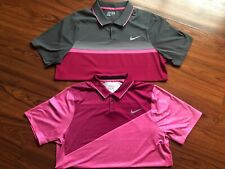 Nike Golf Polo Sz Large Tour Performance Think Pink Lot Tiger