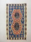 Vintage Turkish Kilim 172x102 cm Wool Kelim Rug Blue Pink Brown Medium