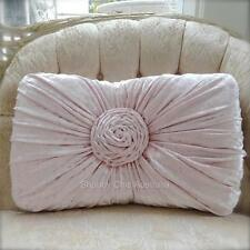 Girl's Pretty Pink Hamptons Velvet Rectangle Rose Plush Cushion Toss Pillow New