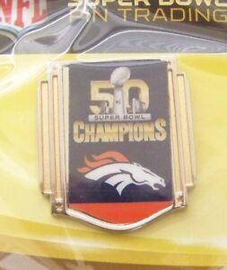 SB Super Bowl 50 Champions Denver Broncos horsehead logo lapel pin NFL win var 2