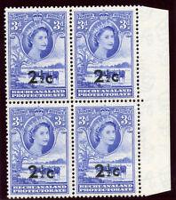 Bechuanaland 1961 QEII 2½c on 3d bright ultramarine block MNH. SG 160. Sc 172.