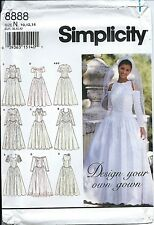 S 8888 sewing pattern ELEGANT Wedding DRESS Bridal GOWN sew sizes 10-12-14 UNCUT