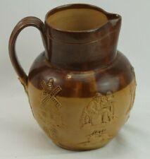 19th Royal Doulton Lambeth Pottery Pitcher Hunting Dogs Horses Stoneware Jug