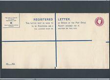 GB Postal Stationery 1939 KGVI 41/2d puce Registered Envelope size K RP47