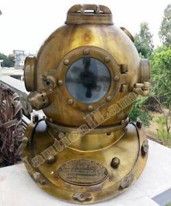 Vintage Style US Navy Mark V Divers Diving Helmet Antique Scuba SCA Full Size 18