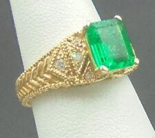 Beautiful  Emerald 1.68 ct Ring 14k yellow gold with diamonds