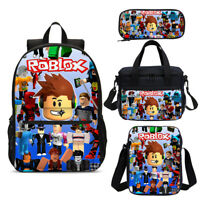 Cool Game Roblox Kids Boys Backpack Book Bag Insulated Box Pencil Case Gift Lot