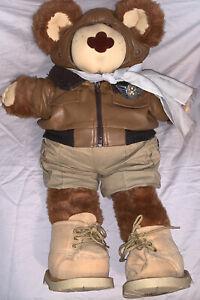 "1986 Vintage Teddy Bear Moody Hollow Orville T. Furskin 24"" Aviator Pilot Plush"