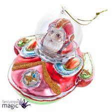 Gisela Graham Christmas Glass Santa in Space Ship Tree Bauble Decoration Xmas