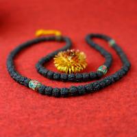 "Mala schwarze Halskette ""Antik look"" Rudraksha Nepal Buddha 86g"