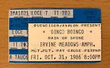 1986 Oingo Boingo Irvine Meadows Concert Ticket Stub Dead Man'S Party Elfman 703