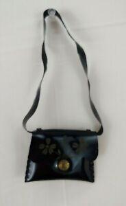 Vtg Terri Lee Doll Purse Black Messenger Bag Snap Closure