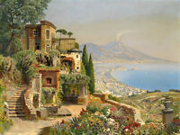 Oil painting Charming Mediterranean landscape with The erupting volcano canvas
