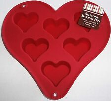 """Valentine Heart Shaped Silicone Baking Pan  Makes 2 1/2"""" Cupcakes"""