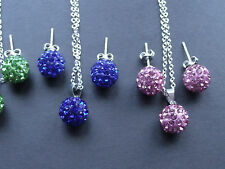 UK Jewellery Shamballa Stud & Drop Earrings / Necklace Pendant Sets / Bracelets