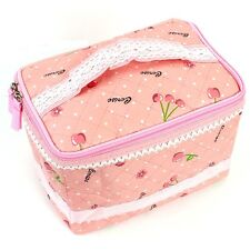 Pink Cherry Bow Organizer Storage Bag Travel Make Up Comestic Accessory Case