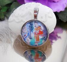 Ketten Anhänger Indien Götter Gemälde Art - Glas Cabochon 25 mm  -  Amulett
