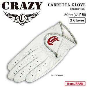 2020 CRAZY Golf Japan CABRETTA GLOVE 20cm White 3 gloves Unisex 20sm