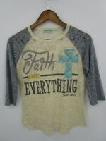 Southern Grace Women's Faith Over Everything Lace Sleeve Top Size S
