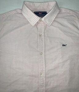 Vineyard Vines Pink Check Button Shirt Slim Fit Large Long Sleeve Whale Shirt