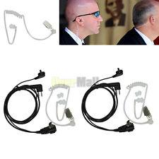 2Pcs Headset Mic Covert Acoustic Tube Earpiece for Motorola Radio Security 2 Pin