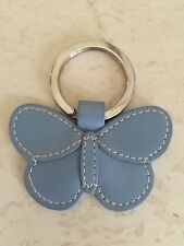 Coach Key Chain Ring Blue Leather Butterfly