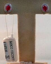 Orecchini in oro bianco 18kt 750/°°° MIRCO VISCONTI con Diamanti e Rubino
