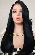 Synthetic long black lace front wig 20 Inch Long Heat Resistance Ok