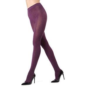 MeMoi Women's Eggplant Shiny Cotton Stretch Leg Wear Sweater Tights, Size S/M