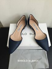 NIB $645 Manolo Blahnik Soussaba Leather D'Orsay Flats Dark Navy 7.5/37.5