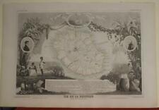 RÉUNION (FRANCE) 1852 VICTOR LEVASSEUR ANTIQUE ORIGINAL COLORED LITHOGRAPHIC MAP