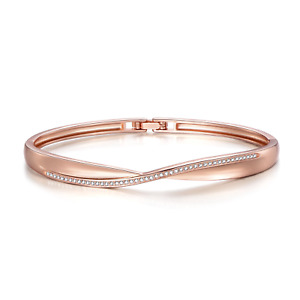 Rose Gold Arc Bangle Created with Swarovski® Crystals by Philip Jones