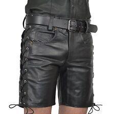 AW-546 Geschnürte Ledershorts,Jeans Leder Shorts,Lederhose,Kurze Hose gay n cuir