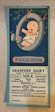 Vintage Cranford Dairy Advertising Blotter Baby in Tire Swing by C. Twelvetrees