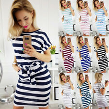 UK Womens Holiday Short Sleeve Bodycon Midi Dresses Ladies Summer Striped Dress