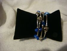 Hand crafted Fashion  bracelet with silver beads and blue stones